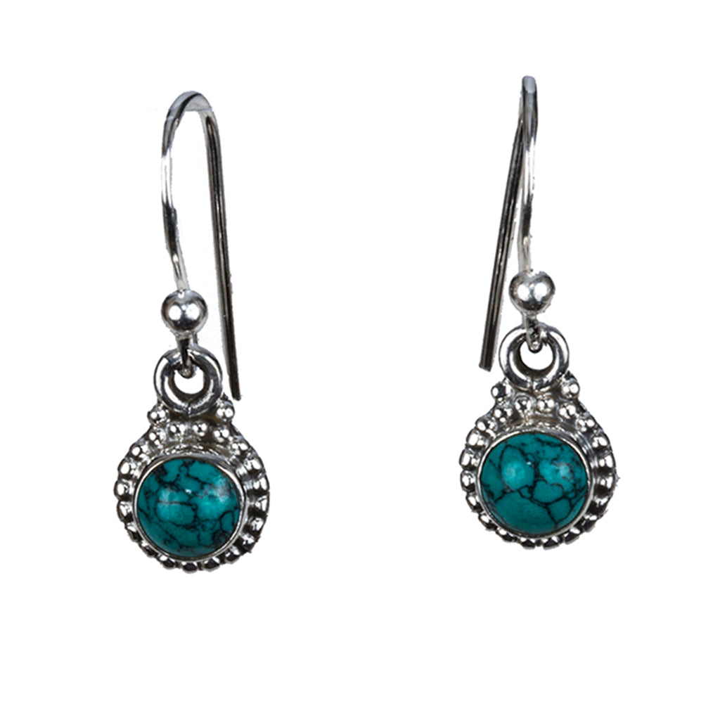 Turquoise earring small silver dangle boho style