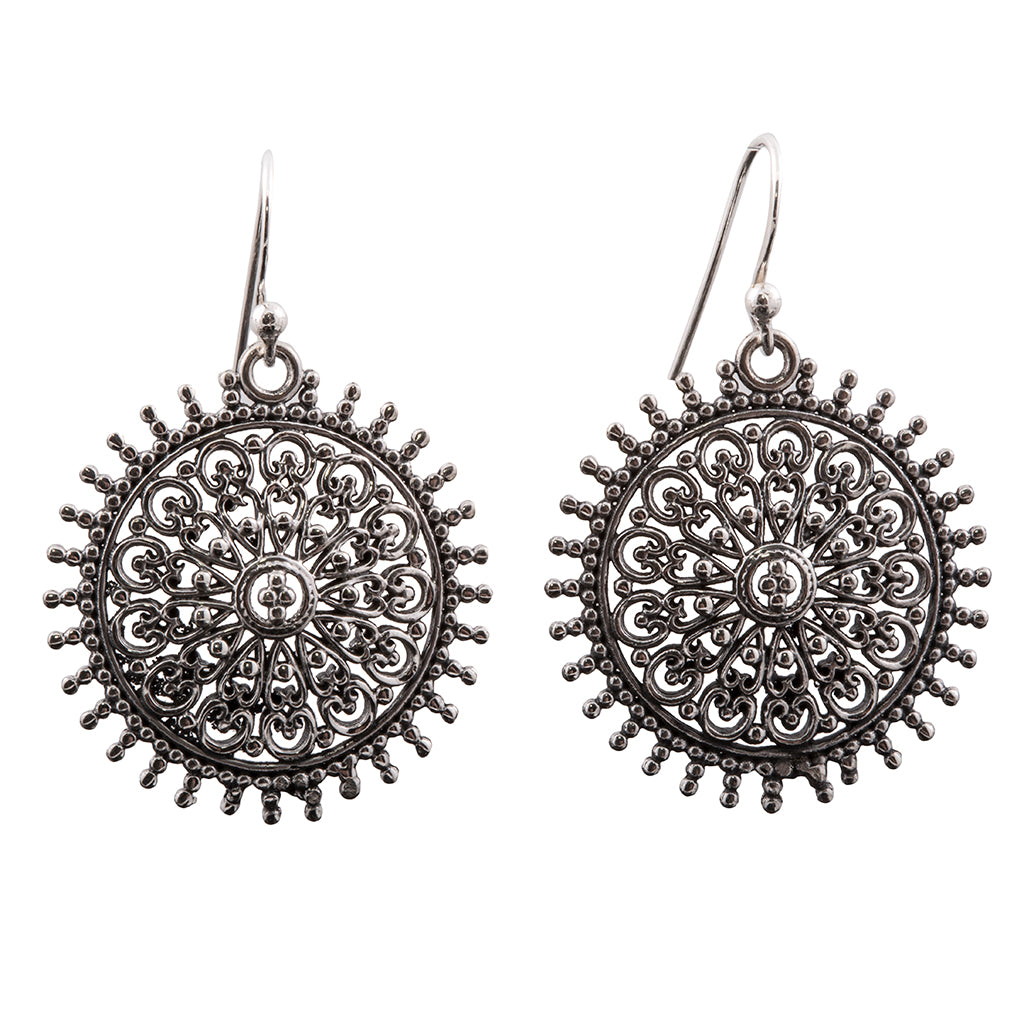 Silver heart mandala dangle earring affordable