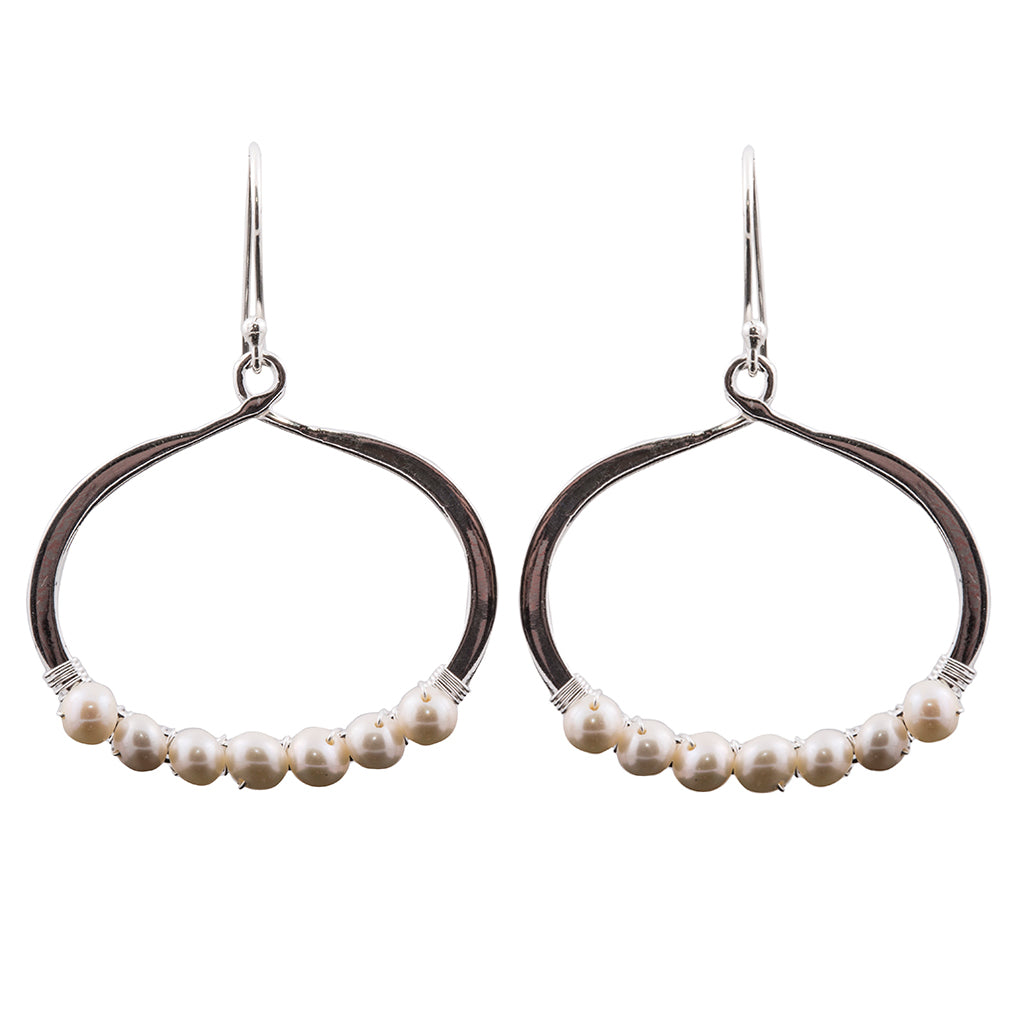 Dangle sterling silver pearl circle earring