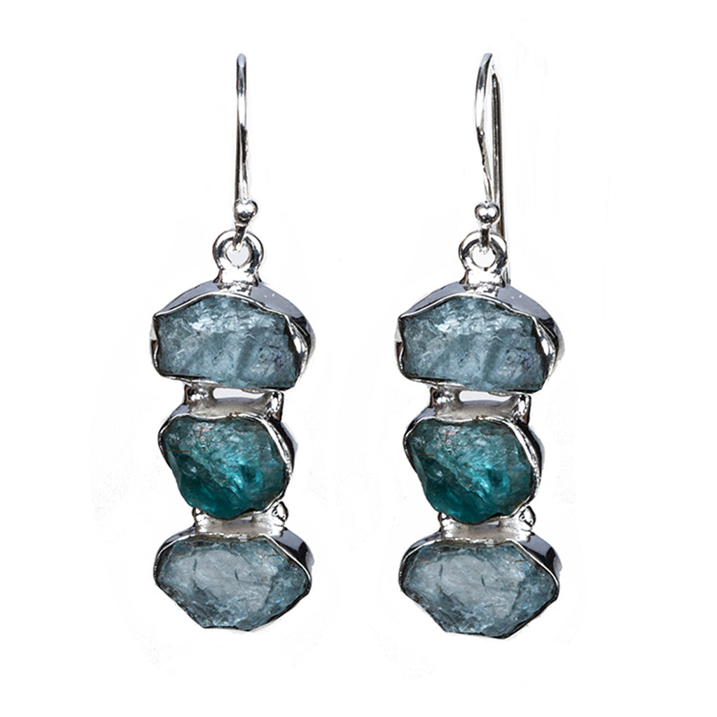 Aquamarine apatite earring silver dangle affordable raw stone