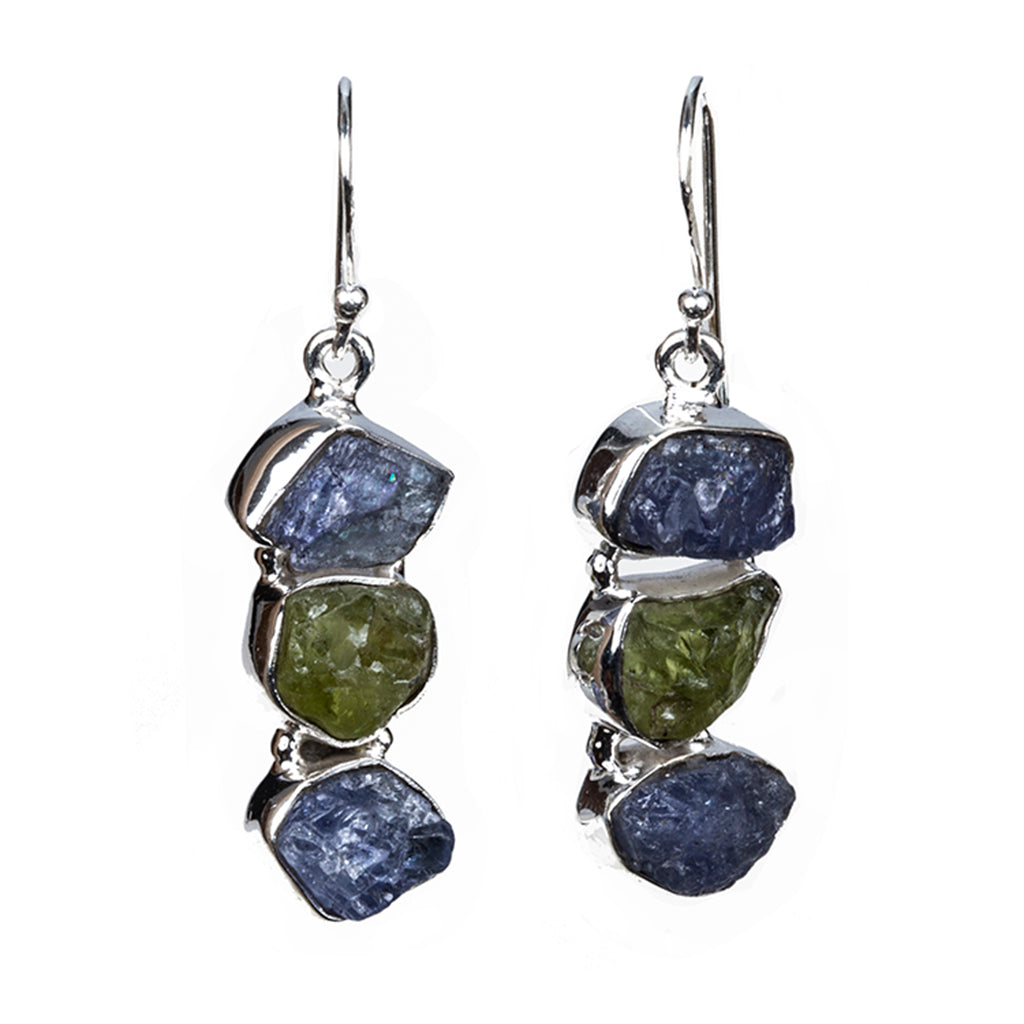 Tanzanite peridot silver dangle earring affordable boho style