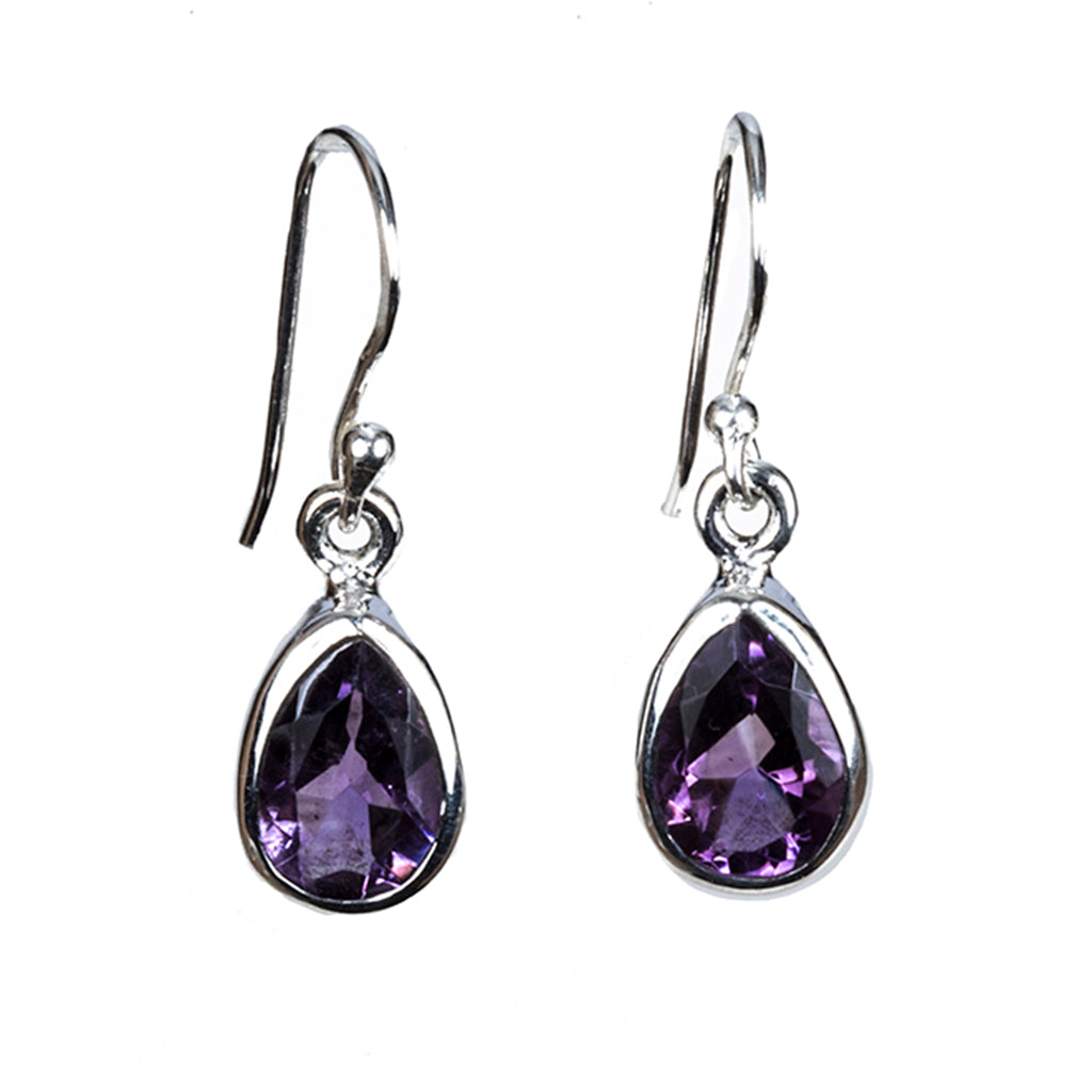 Amethyst drop dangle earring silver affordable
