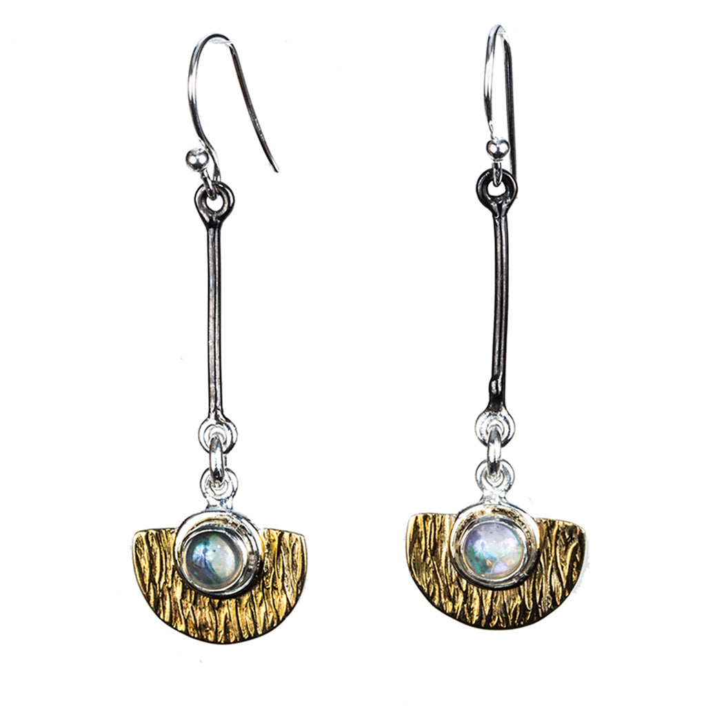 Silver vermeil affordable earring half circle opal stone dangle