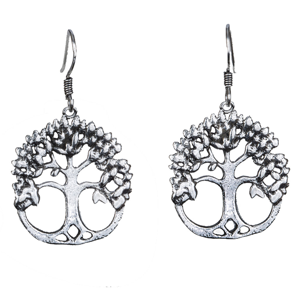 Acacia silver tree dangle earring affordable tree of life, yoga lifestyle, om