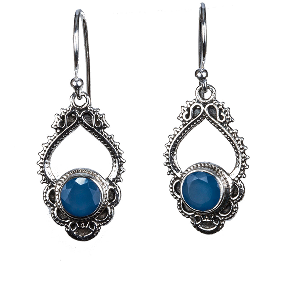 Cerulean quartz silver dangle earring affordable