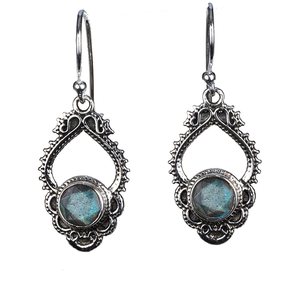 Labradorite silver dangle earring
