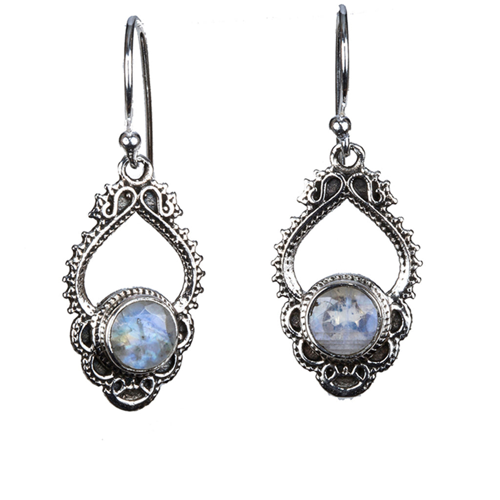 Rainbow Moonstone silver dangle earring affordable
