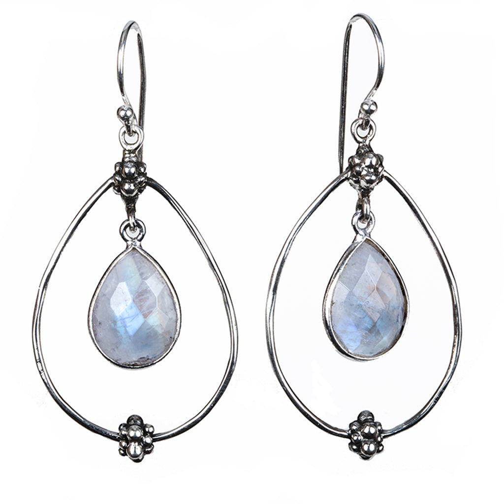 Chevaux silver drop rainbow moonstone earring