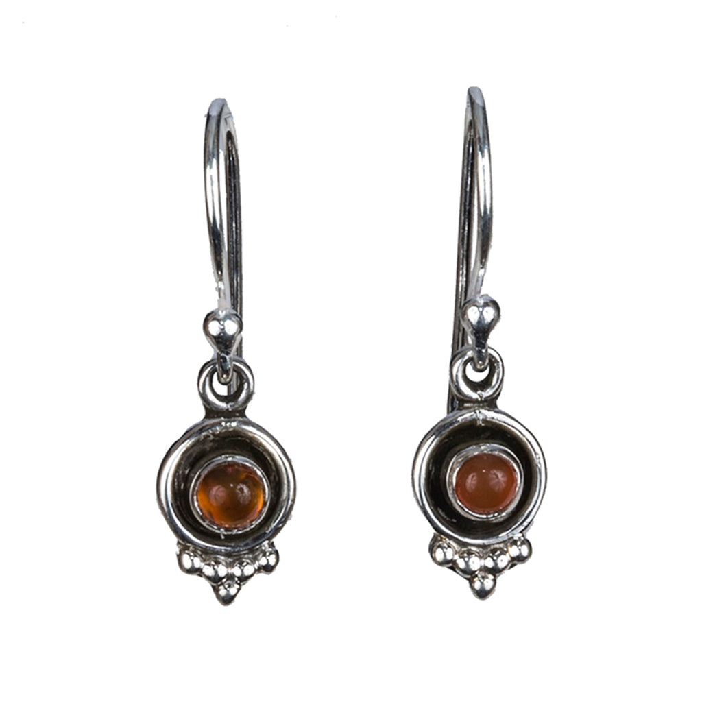 Carnelian silver dangle earring