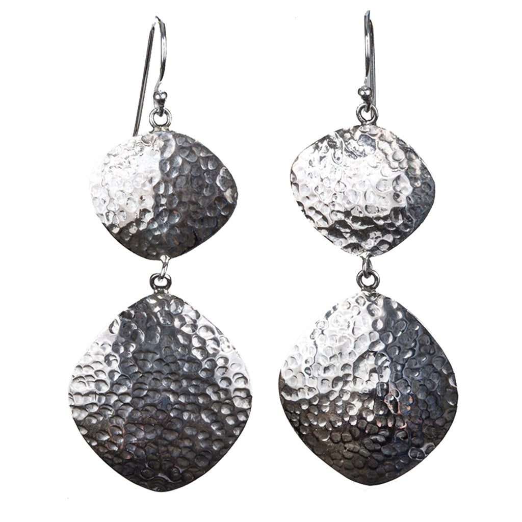 Silver hammered large dangle earring