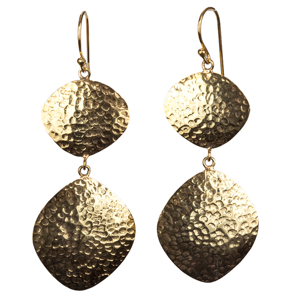 Vermeil Large dangle earring hammered affordable