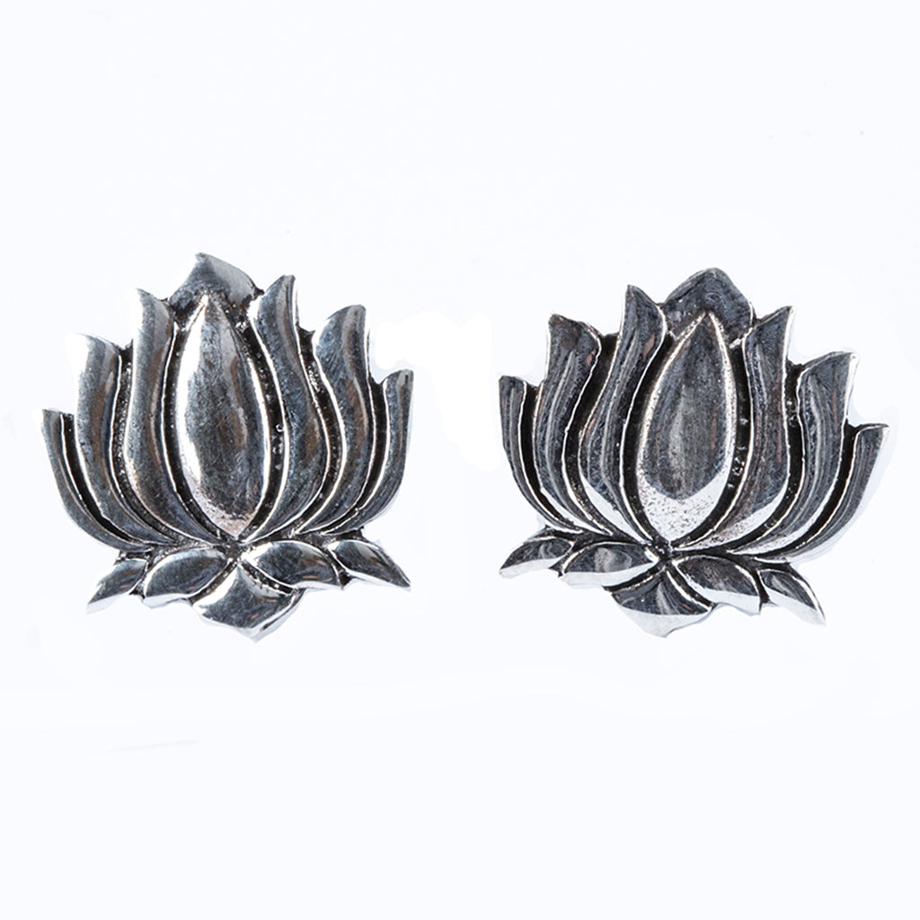 Large silver lotus post earring affordable