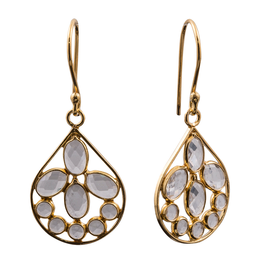 vermeil drop quartz faceted stones dangle earring