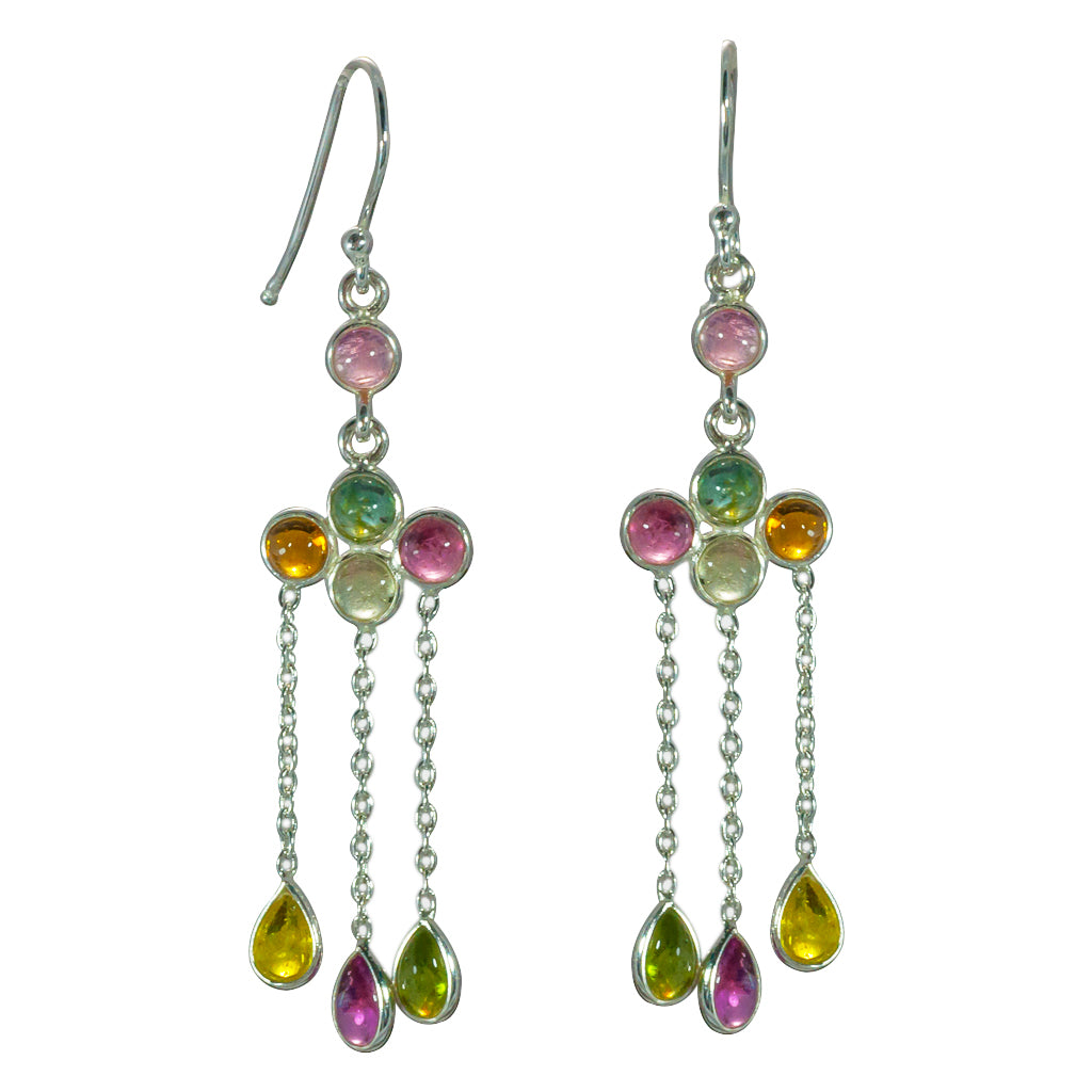April showers dangle tourmaline earring silver affordable