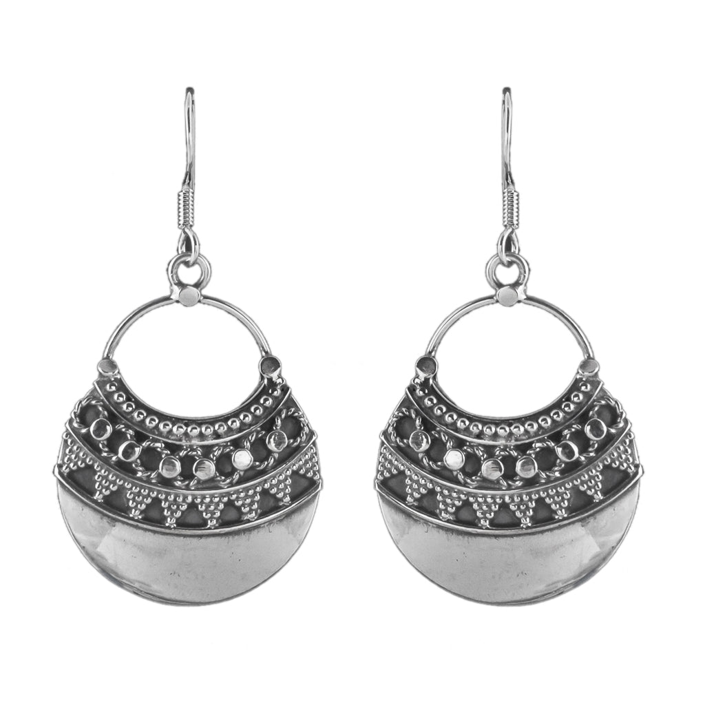Silver Earring Half round delicate intricate