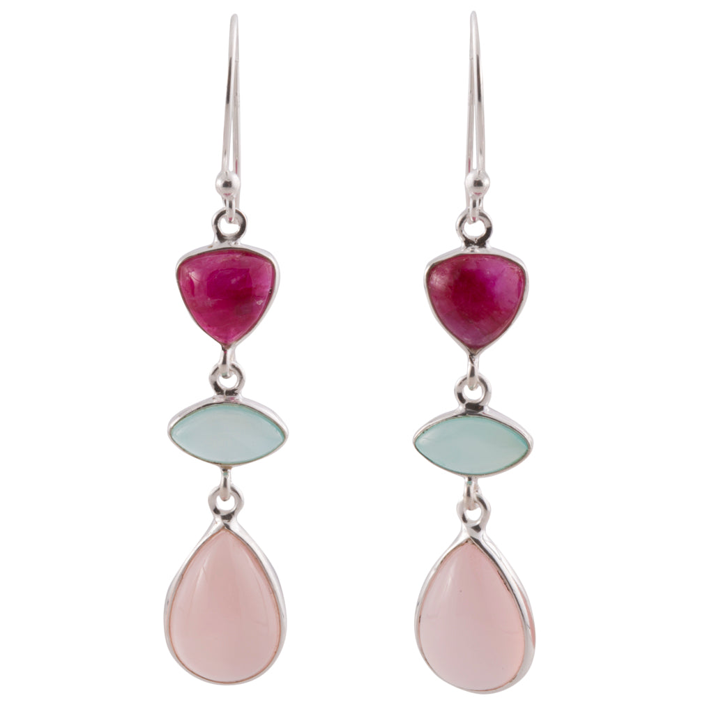 Three sisters dangle stone earring pink chalcedony ruby chrysoprase