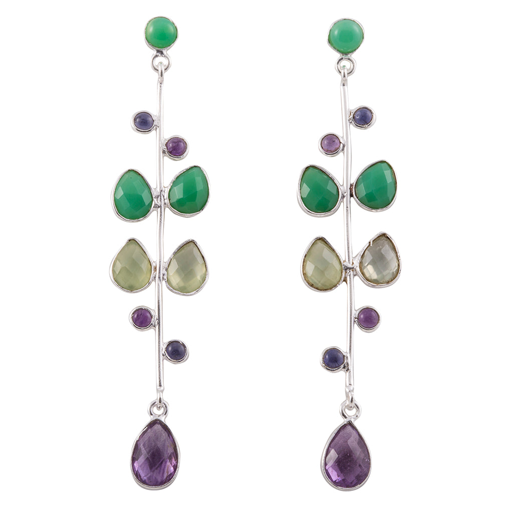 semi-precious stones, green onyx, peridot, prehnite purple amethyst, iolite, long post earrings