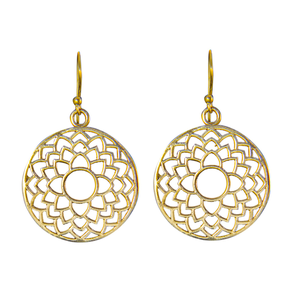 mandala brass dangle cute boho trendy earring