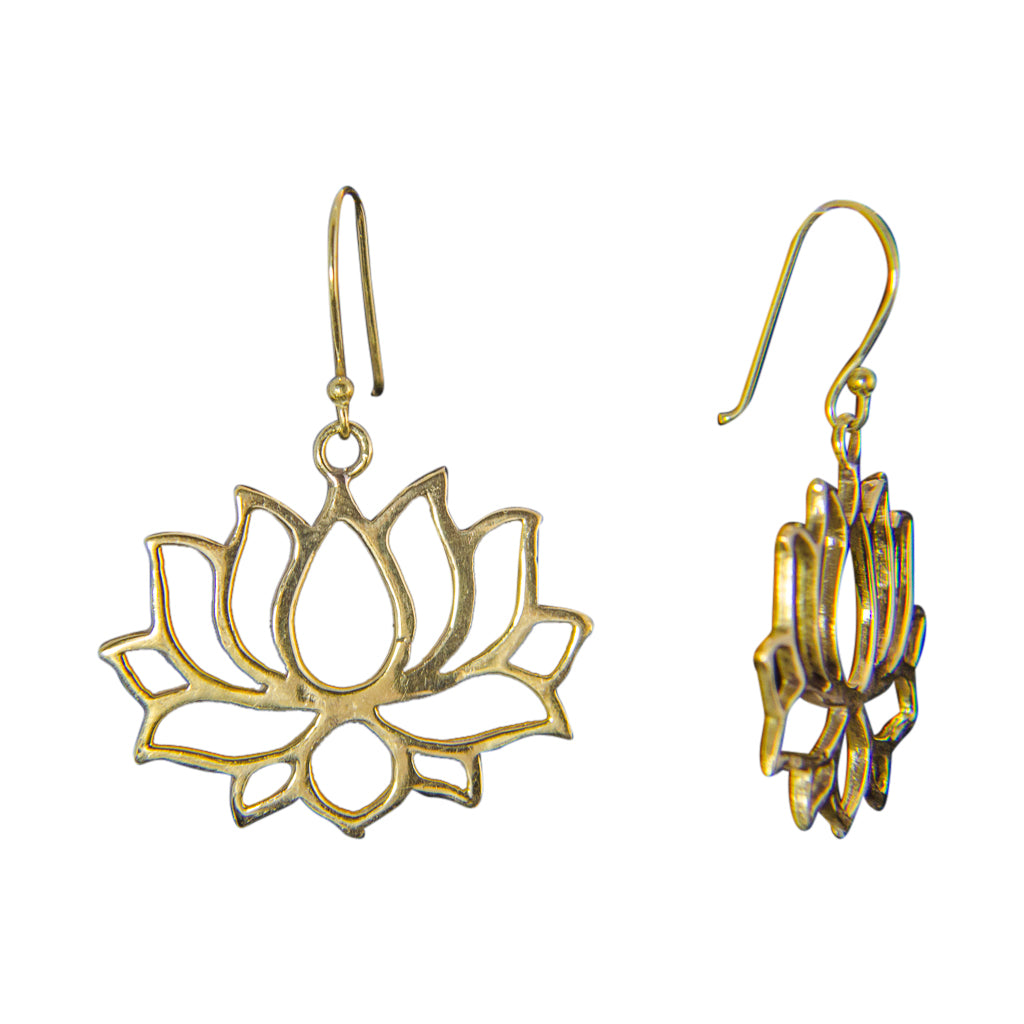 lotus flower petal brass dangle earring boho cute