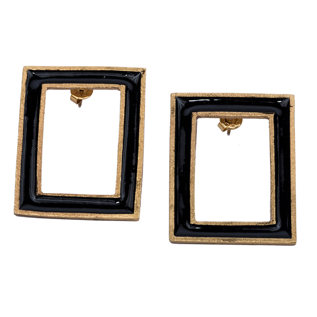 Black gold plate enamel vintage deco earring post affordable