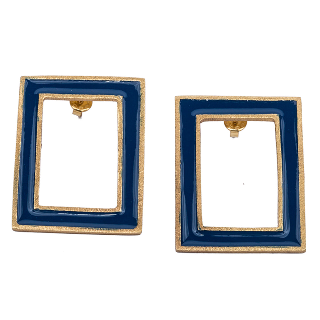 Blue post enamel frame earring affordable vintage deco