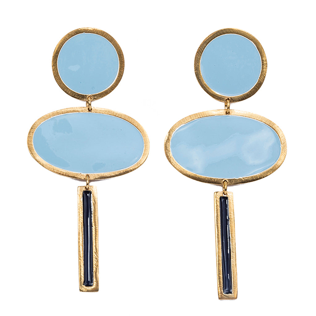 Technicolor clouds earring enamel post affordable cute bold vibrant colorful baby blue