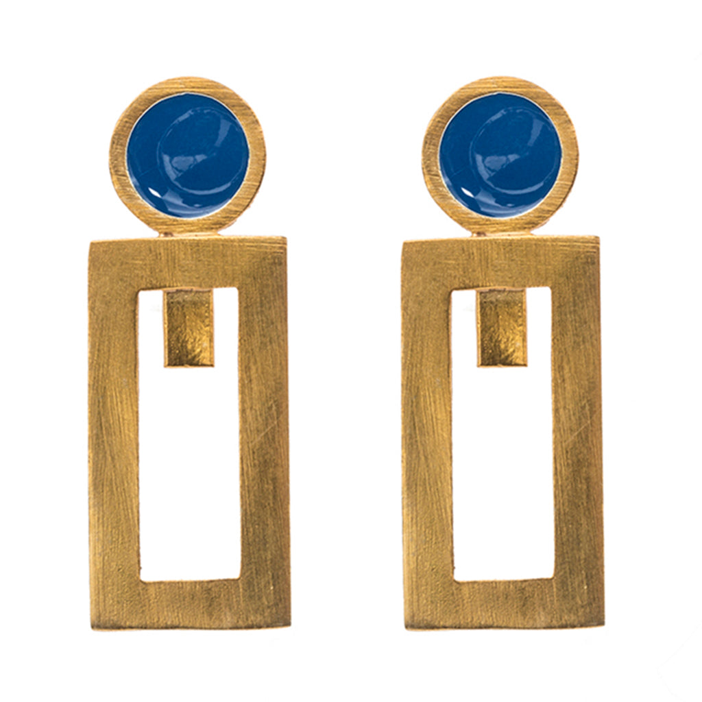 Blue gold plate rectangle enamel earring