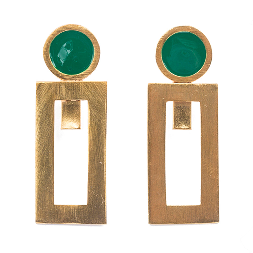 Green gold plate rectangle post earring affordable circle ball