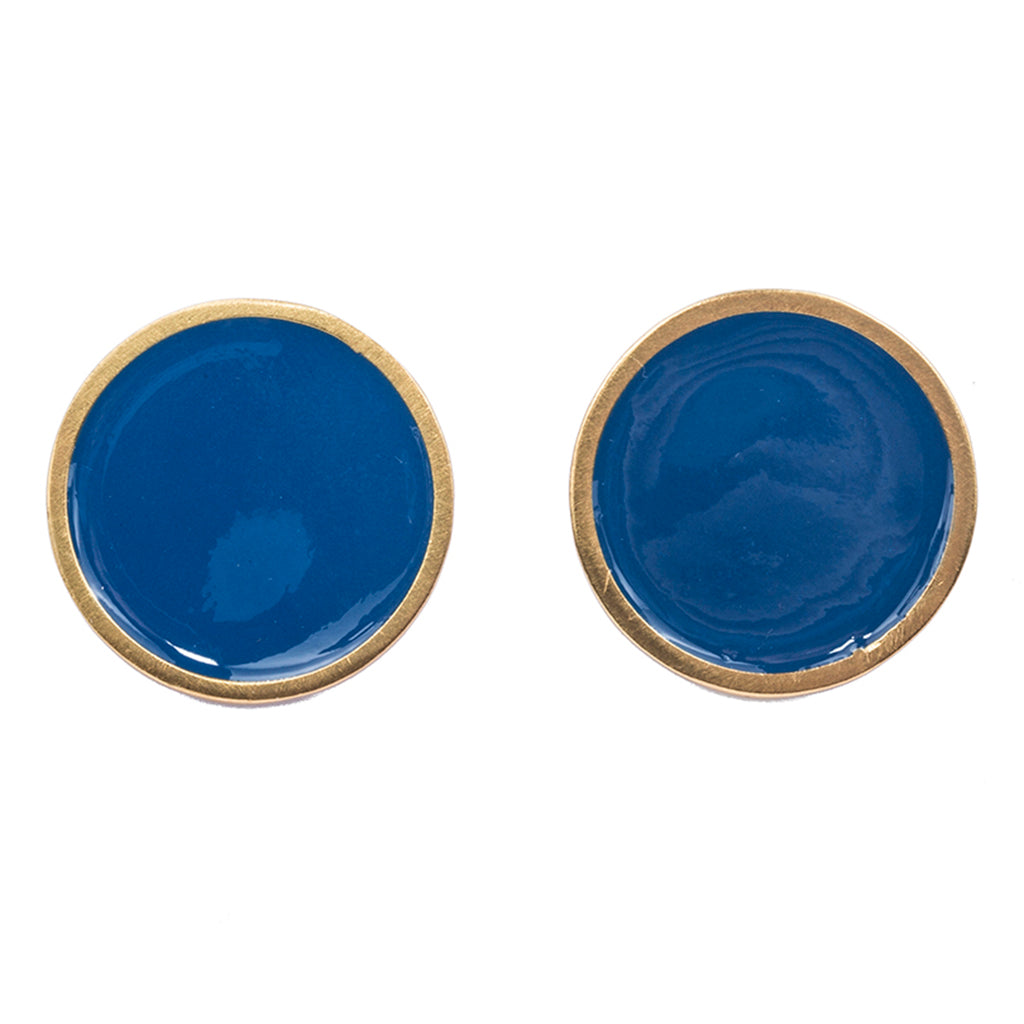 Blue big dot circle large round post earring enamel gold plate affordable