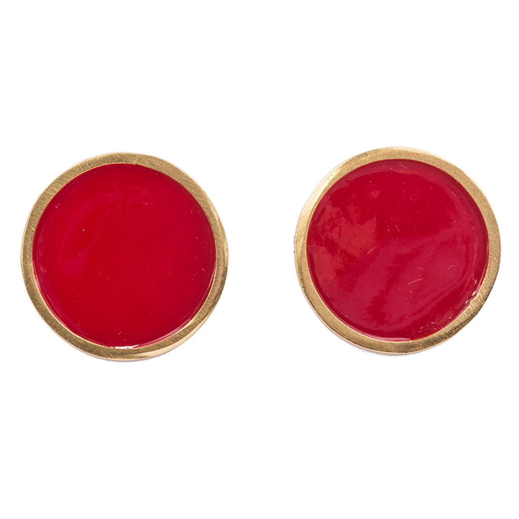 Red enamel gold plate earring