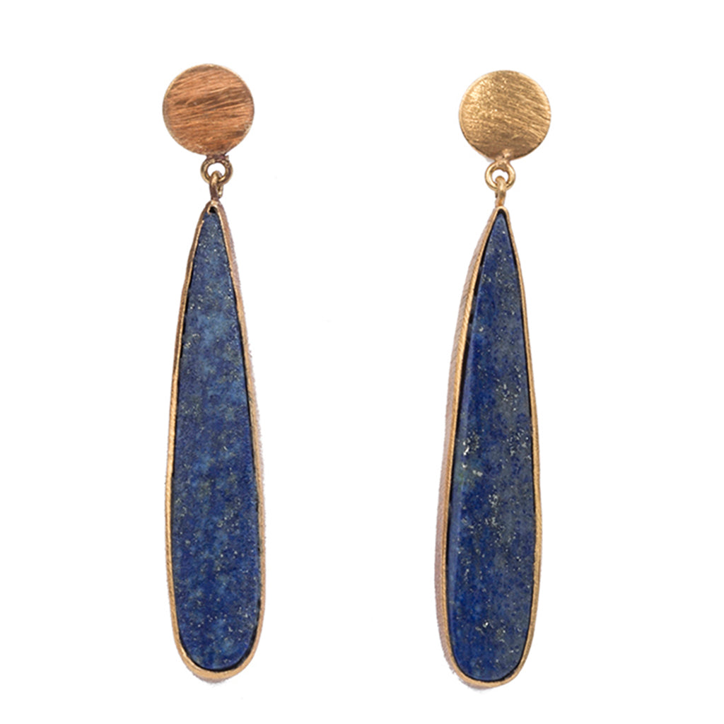Gold plate lapis earring post drop affordable