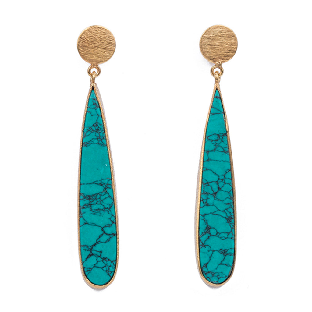 Gold plate post earring turquoise drops earring