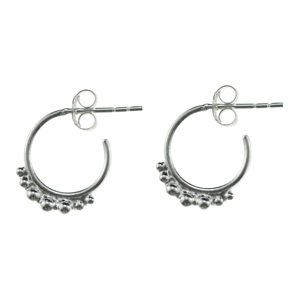 Hoop Post Stud Small Dainty Silver