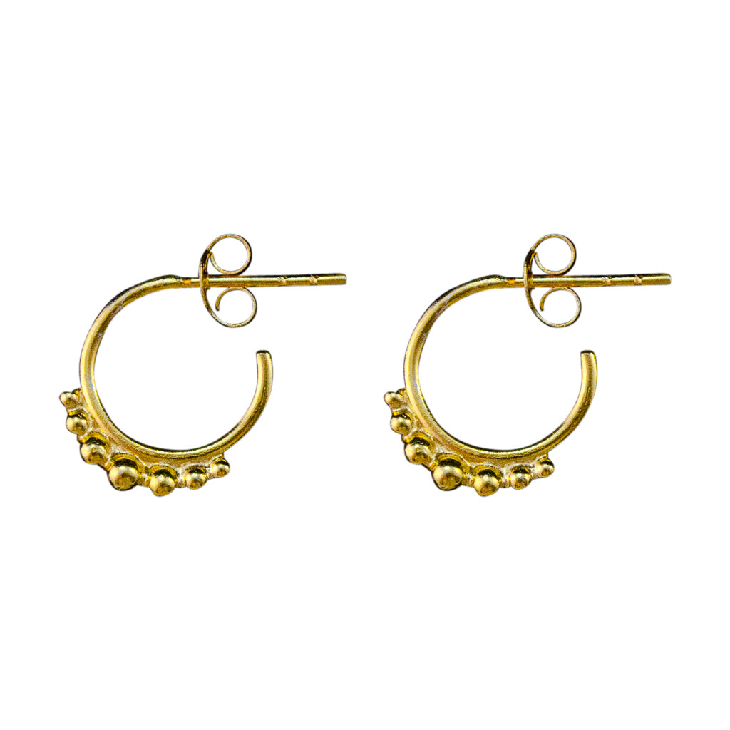 Hoop Post Stud Small Dainty Vermeil Gold
