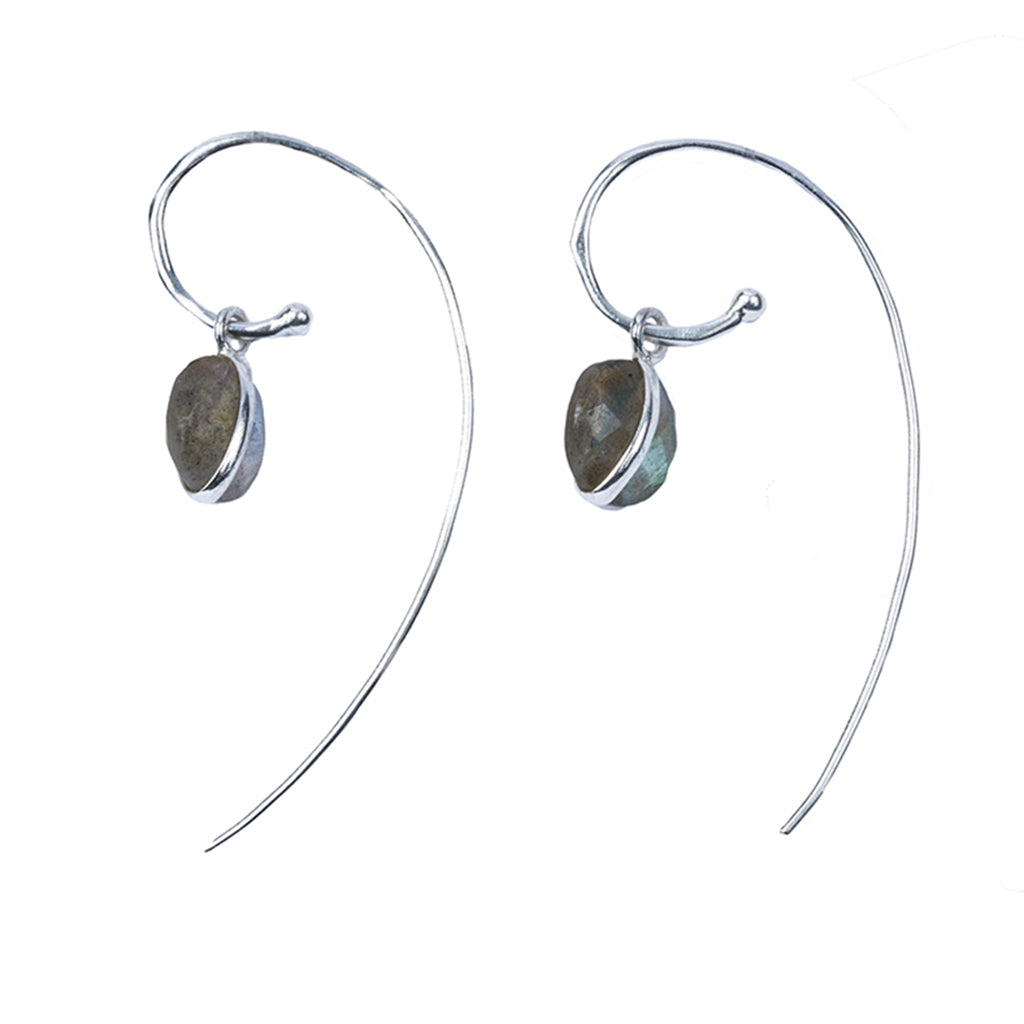 Silver green onyx round drop hoop earring affordable