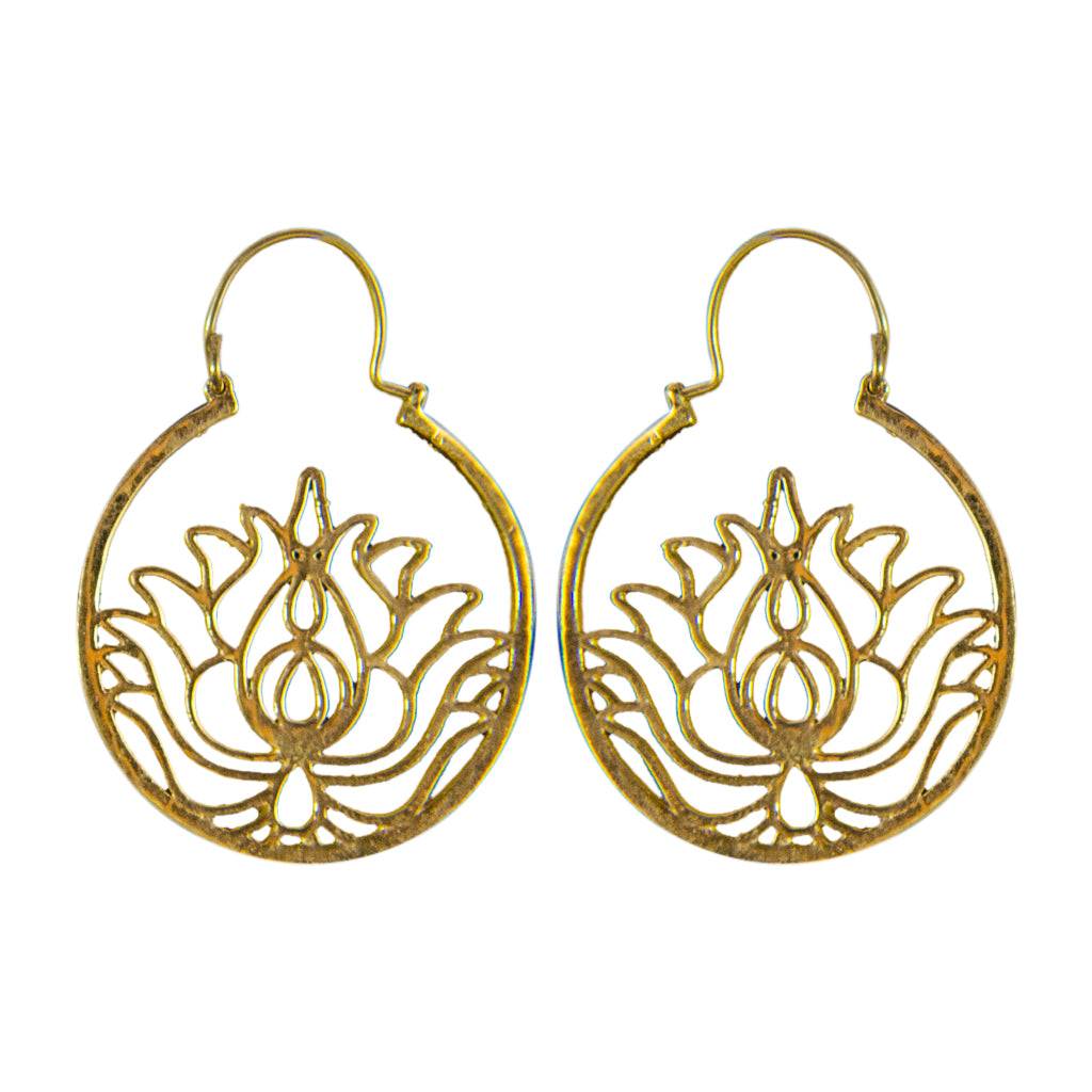 brass hoop earring lotus flower boho stylish trendy swirl yogi yoga jewelry