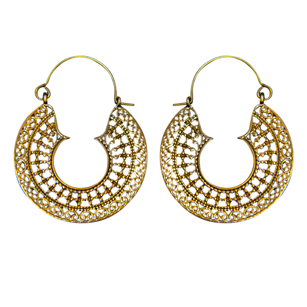 Brass Earring Boho Intricate Detail Beautiful