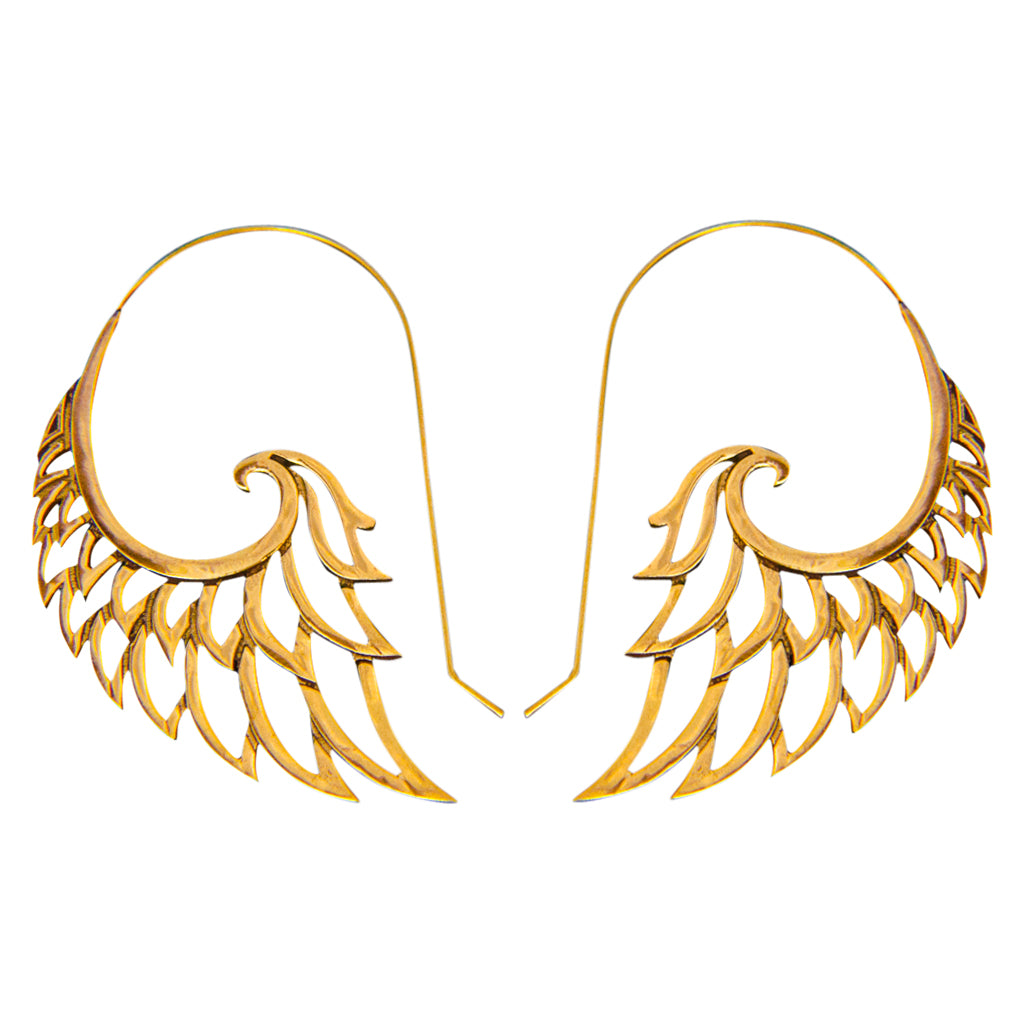 Angel Wing Brass Hoop Large