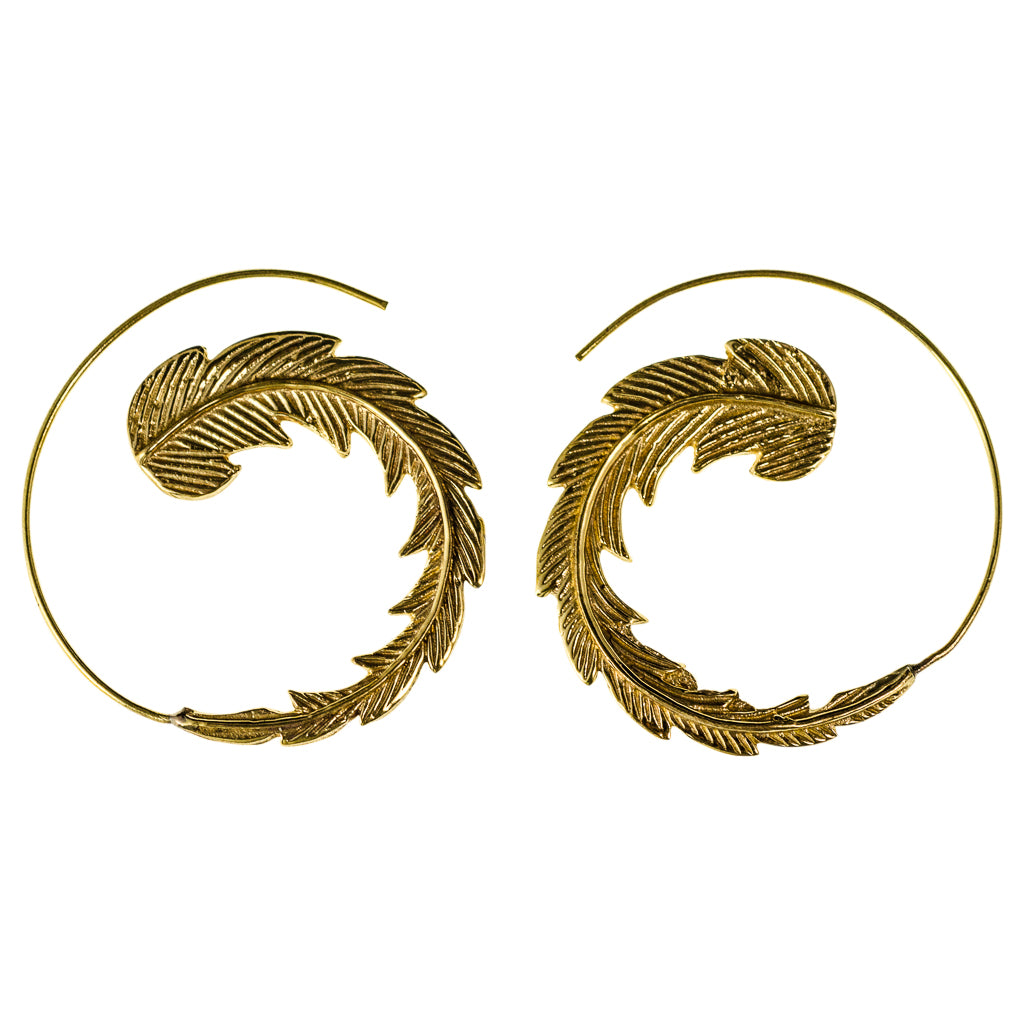 Quetzal Feather Large Brass Hoop