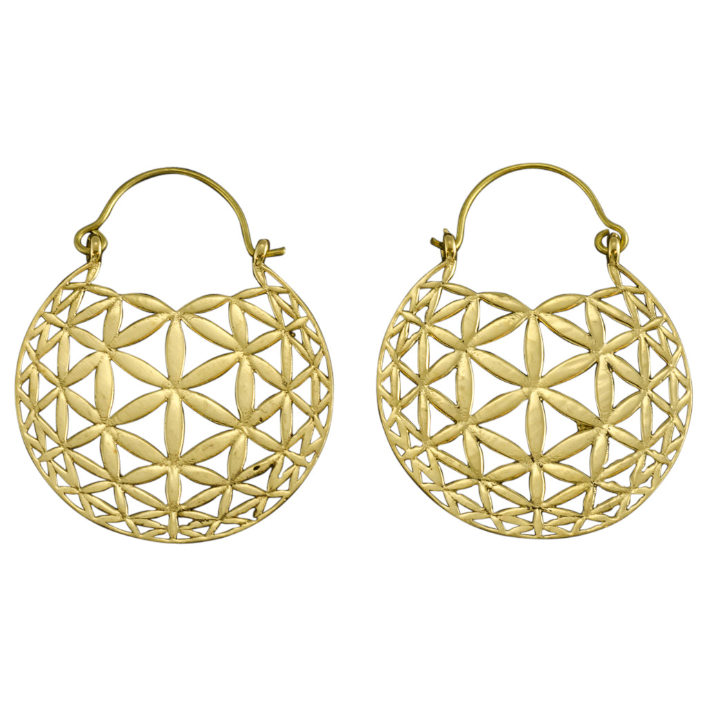 trendy boho flower of life brass hoop earrings