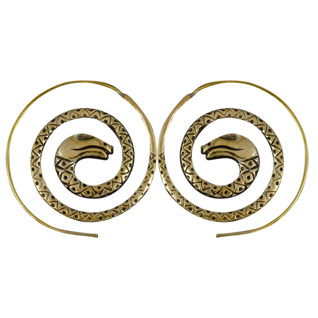 Hoop Brass Snake Earring Spiral Affordable Trendy Boho Stylish