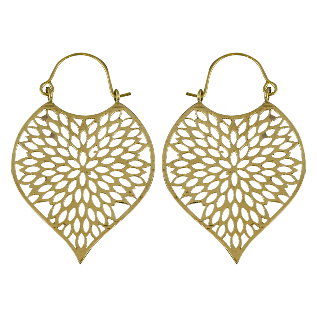 Dahlia Brass Hoop Earring Flower Cute Pretty Trendy Boho Affordable Style