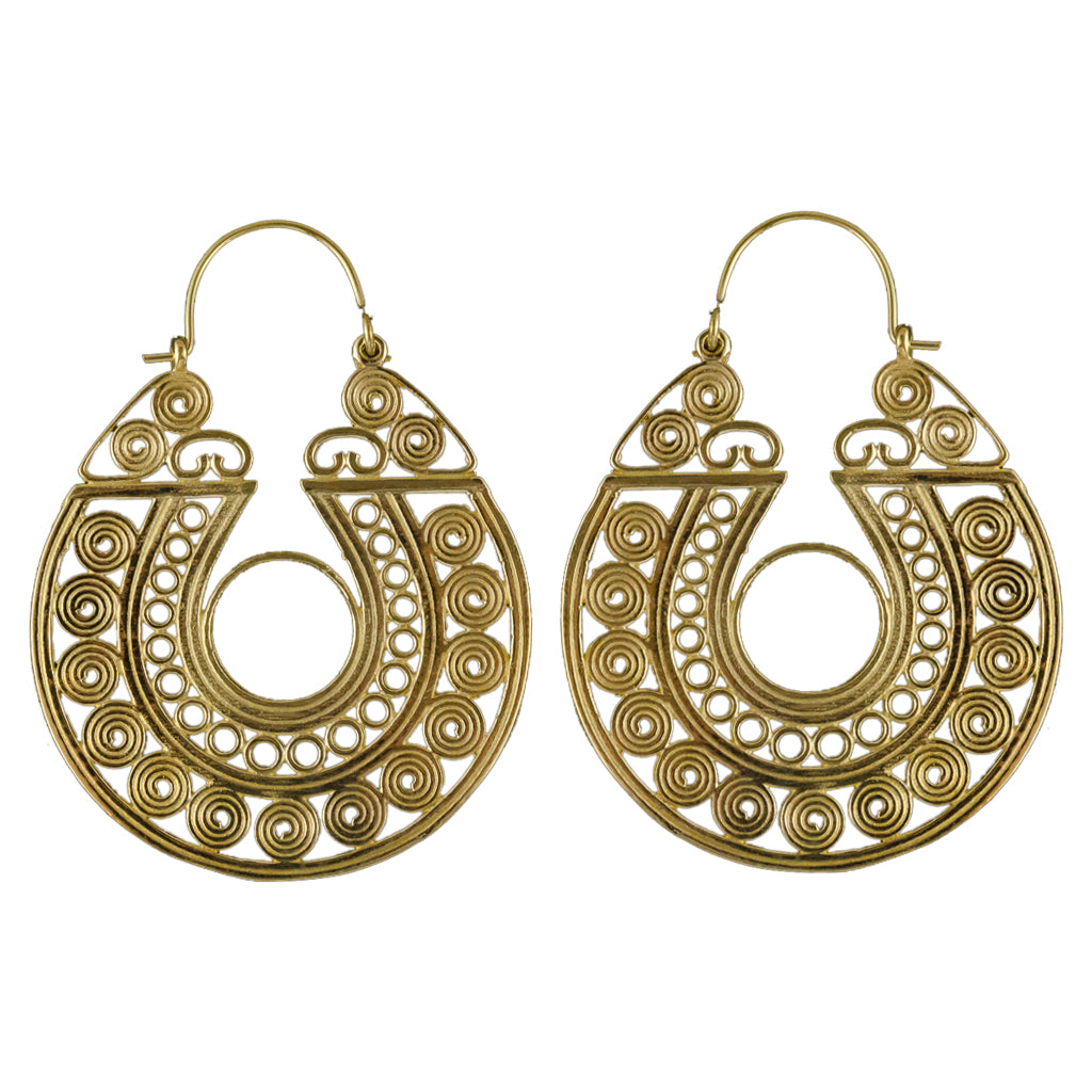 Wide Circle Earring Brass Hoop Spirals French Stylish Sweet Intricate Adorable Affordable