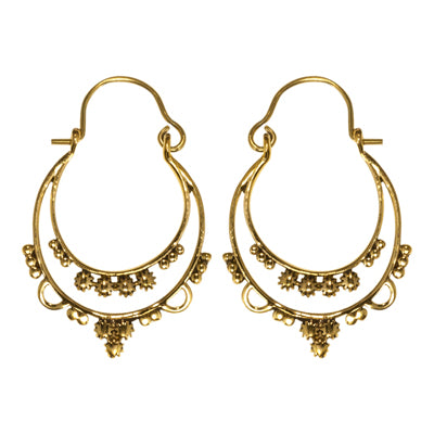 Versailles layers  dots brass hoop affordable classical earring