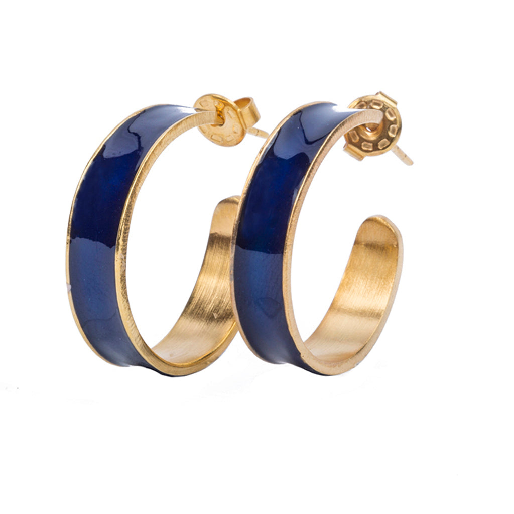 navy blue small enamel gold plate affordable hoop earring