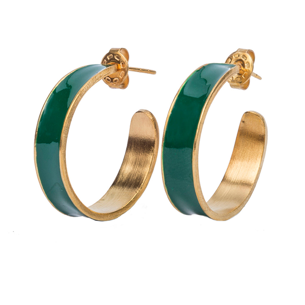Green gold plate hoop earring