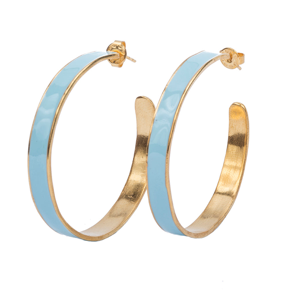 baby blue gold plate enamel large hoop earring affordable