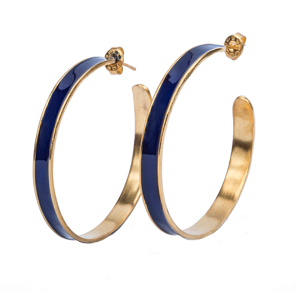Navy blue gold plate hoop earring