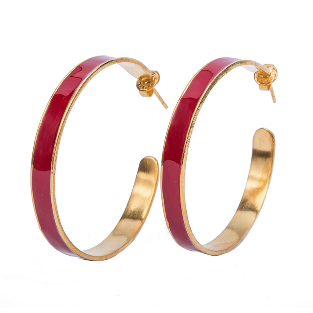 Large red enamel gold plate hoop