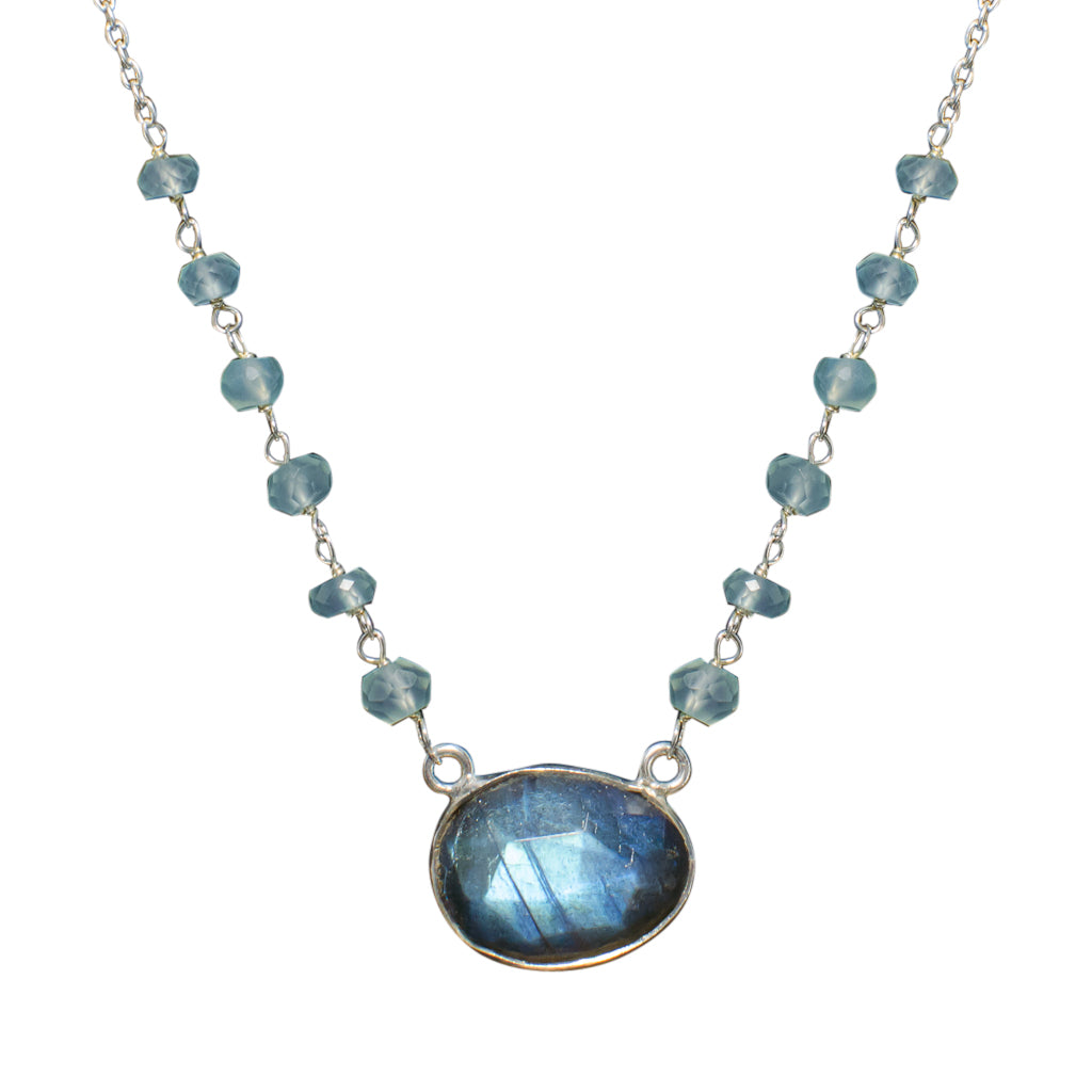 Sterling Silver Necklace Labradorite Elegant Beaded Chain Stone